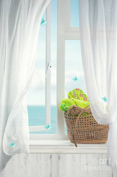 Wall Art - Photograph - Beach Basket In Window by Amanda Elwell