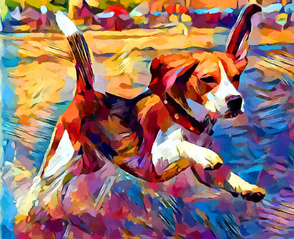 Wall Art - Painting - Beach Beagle by Chris Butler