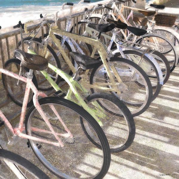 Wall Art - Digital Art - Beach Bikes by Cynthia Decker