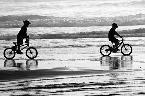 Photograph - Beach Biking - Black And White by Adam Jewell