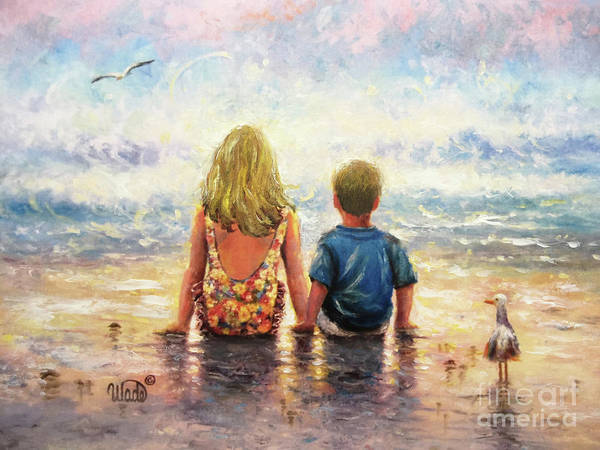 Wall Art - Painting - Beach Girl And Boy Side By Side by Vickie Wade