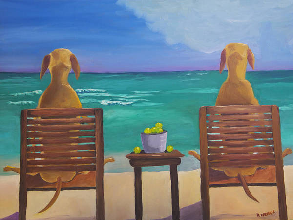 Tropic Painting - Beach Blondes by Roger Wedegis