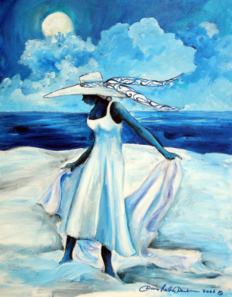 African American Woman Wall Art - Painting - Beach Blues by Diane Britton Dunham