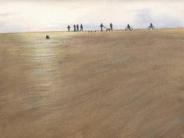 Painting - Beach Bocce Bikes by Peter Senesac