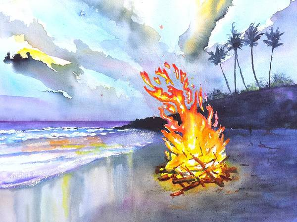 Bonfire Wall Art - Painting - Beach Bonfire At Sunset by Carlin Blahnik CarlinArtWatercolor