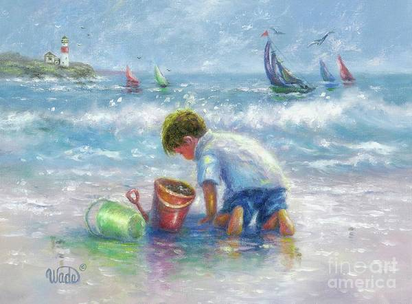 Wall Art - Painting - Beach Boy Sand And Sailboats by Vickie Wade