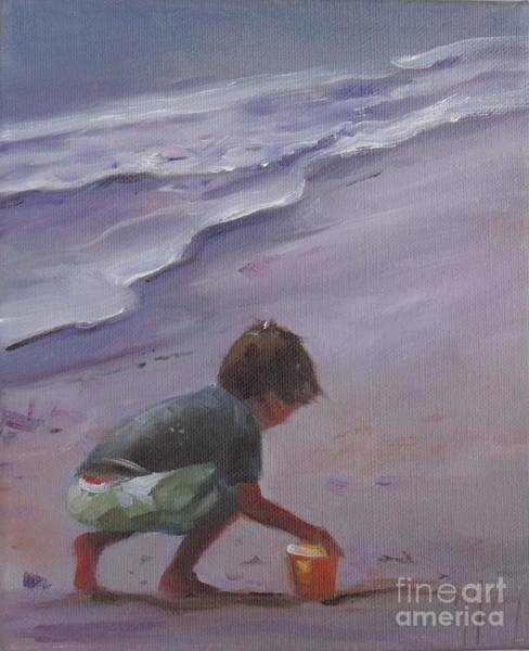 Sand Castle Painting - Beach Bucket by Mary Hubley