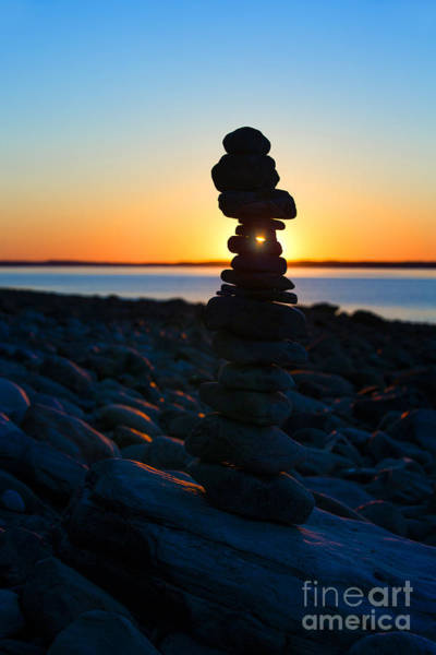 Wall Art - Photograph - Beach Cairn At Sunrise by Diane Diederich