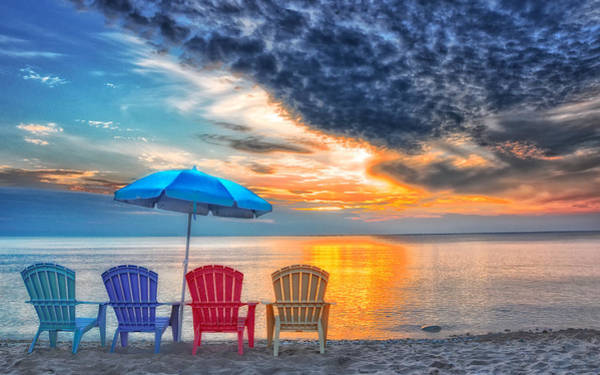 Sun Set Photograph - Beach Chairs by Brian Mollenkopf