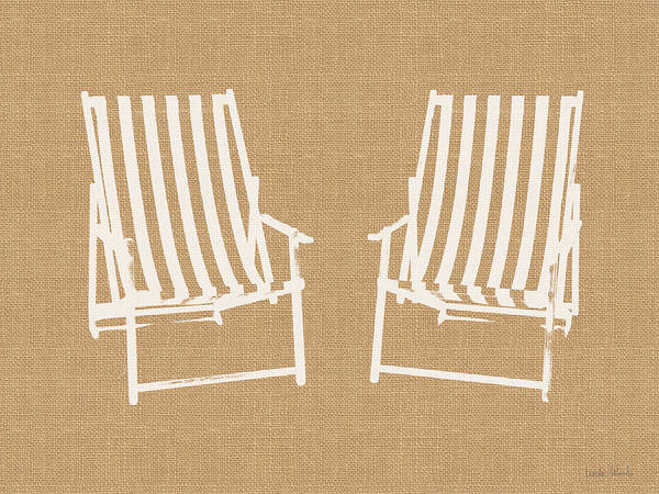 Mixed Media - Beach Chairs On Burlap- Art By Linda Woods by Linda Woods