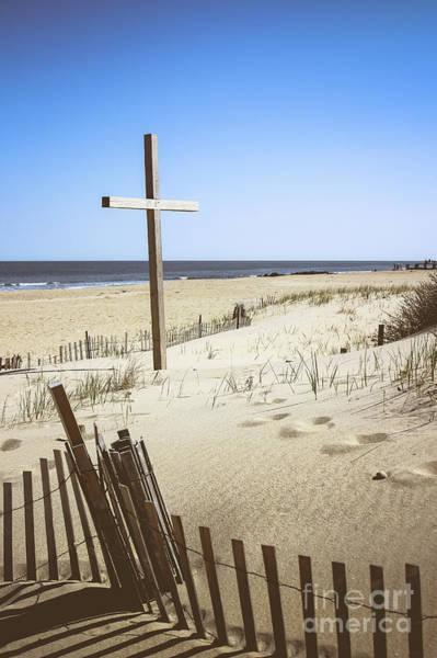Wall Art - Photograph - Beach Cross At Ocean Grove by Colleen Kammerer
