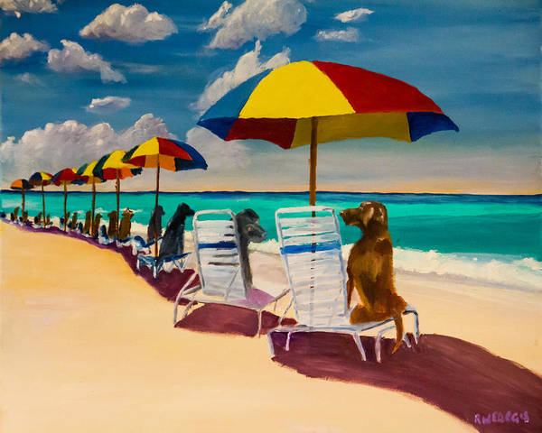 Black Beach Painting - Beach Day by Roger Wedegis