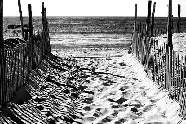 Atlantic Photograph - Beach Entry Black And White Long Beach Island by John Rizzuto