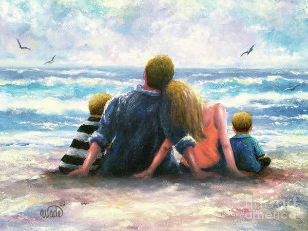 Wall Art - Painting - Beach Family Two Boys by Vickie Wade
