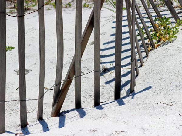 Photograph - Beach Fence Shadows by Karen Adams