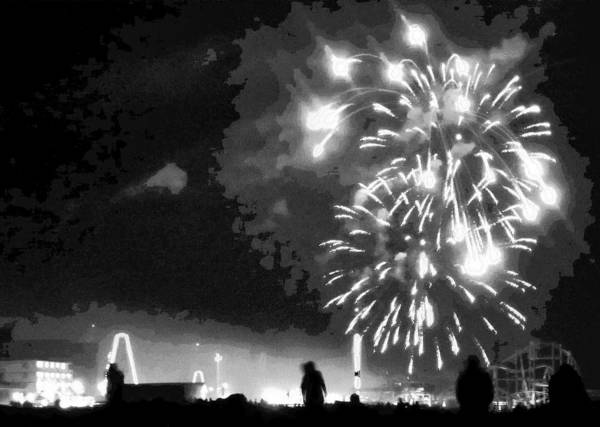 Wall Art - Photograph - Beach Fireworks by Francis Flatley