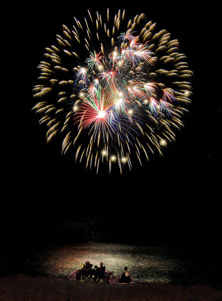Photograph - Beach Fireworks by Rick Mosher