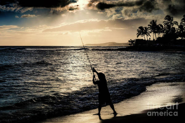 Photograph - Beach Fishing In Hawaii by M G Whittingham