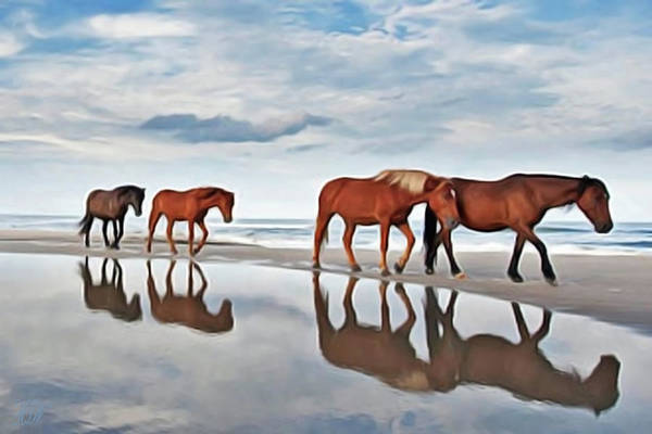 Painting - Beach Horses by Harry Warrick