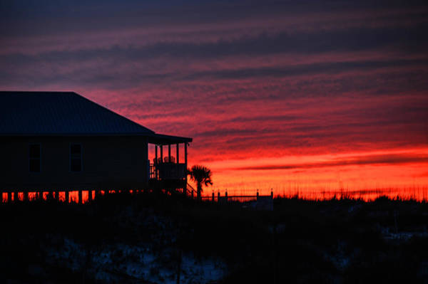 Photograph - Beach House And Red Sky by Michael Thomas