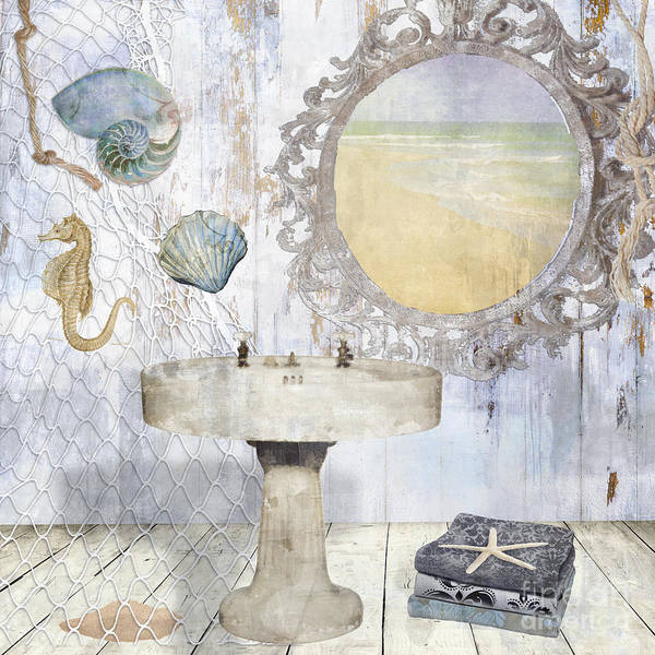 Sand Castle Painting - Beach House Bath II by Mindy Sommers