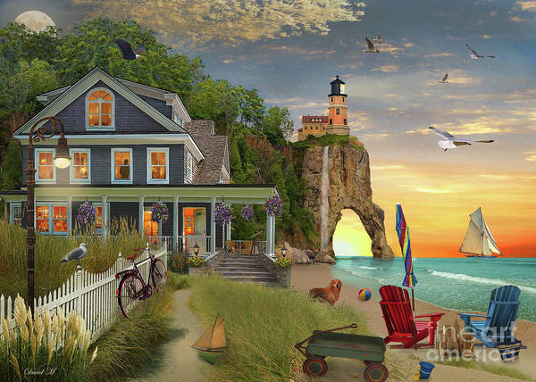 Wall Art - Digital Art - Beach House Lighthouse by MGL Meiklejohn Graphics Licensing