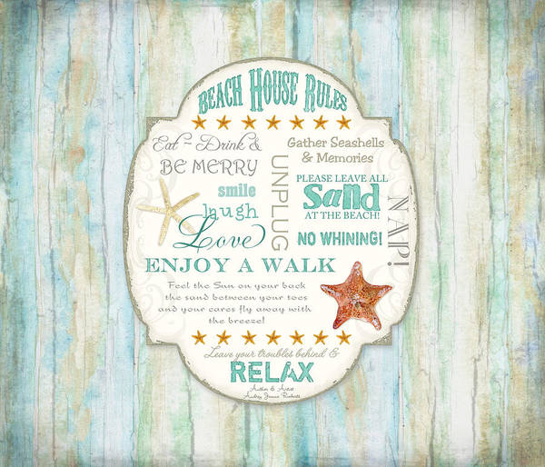 Cottage Style Wall Art - Painting - Beach House Rules - Refreshing Shore Typography by Audrey Jeanne Roberts