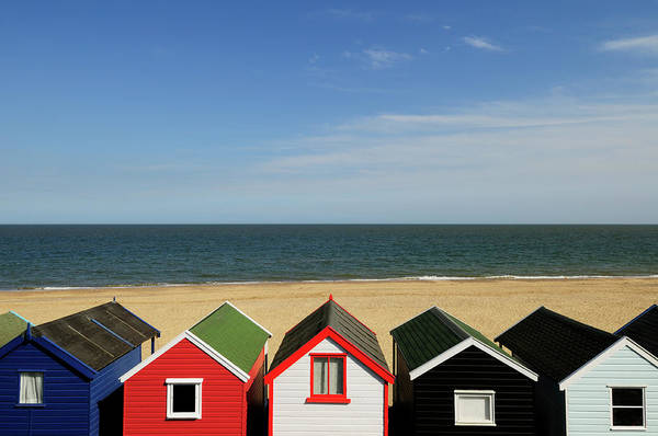 Southwold Wall Art - Photograph - Beach Huts At Southwold by Liz Pinchen