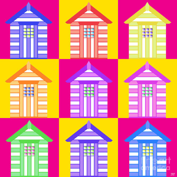 Revolting Digital Art - Beach Huts Here Comes by Neil Finnemore
