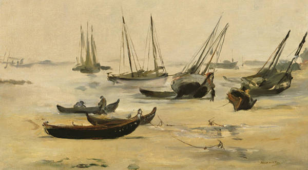 Wall Art - Painting - Beach Low Tide by Edouard Manet