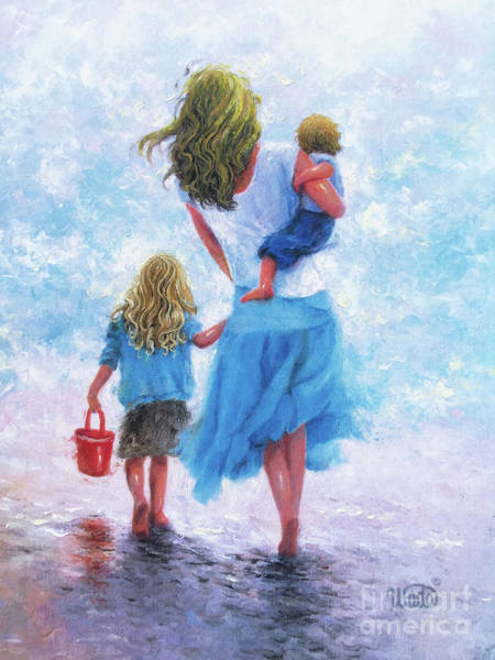 Wall Art - Painting - Beach Mother Daughter And Son by Vickie Wade