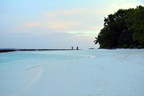 Photograph - Beach On An Island In The Maldives At Dusk by Oana Unciuleanu