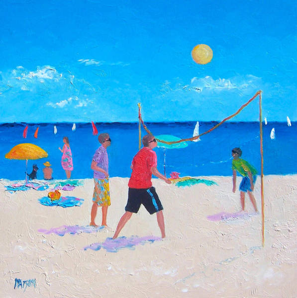 Volley Painting - Beach Painting Beach Volleyball  By Jan Matson by Jan Matson