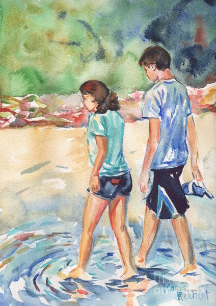Oceanscape Painting - Beach Painting In Watercolor  No Shoes Required by Maria Reichert