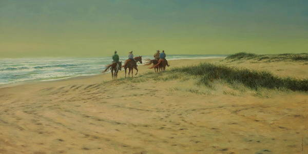 Wall Art - Painting - Beach Riders by Barry DeBaun