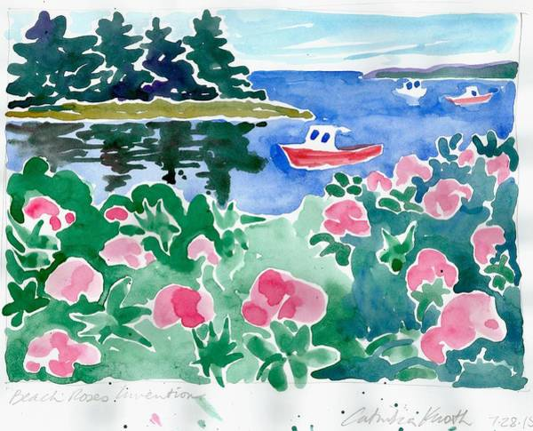 Painting - Beach Roses Red Boat Coastal Floral Landscape Watercolor by Catinka Knoth