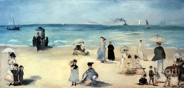 Changing Painting - Beach Scene by Edouard Manet