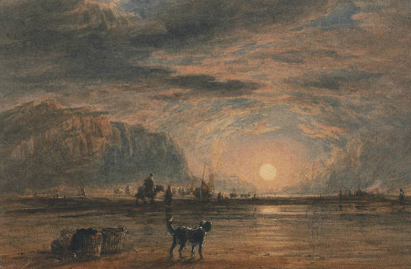 Painting - Beach Scene - Sunrise by David Cox