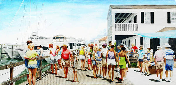 Painting - Beach/shore II Boardwalk Beaufort Dock - Original Fine Art Painting by G Linsenmayer