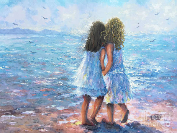 Wall Art - Painting - Beach Sisters Blonde And Brunette by Vickie Wade