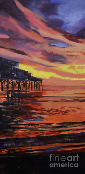 Painting - Beach Sunrise Triptych Panel 1 by Julianne Felton