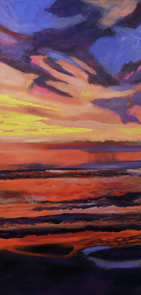Painting - Beach Sunrise Triptych Panel 2 by Julianne Felton