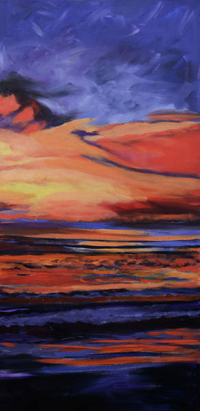 Painting - Beach Sunrise Triptych Panel 3 by Julianne Felton