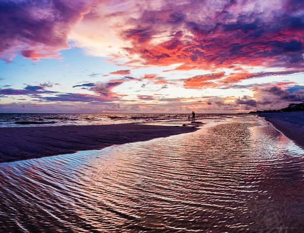 Beach Sunset Ripple Time Art Print