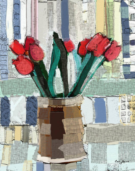 Subtle Painting - Beach Tulips by Carrie Joy Byrnes