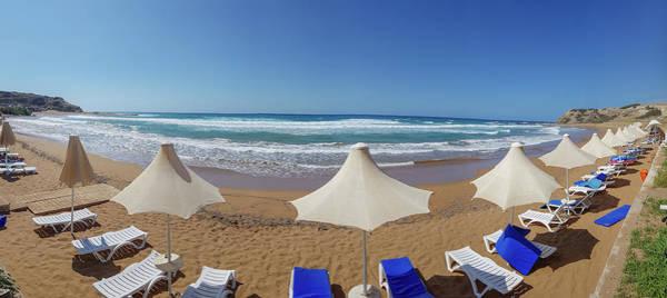 Sea Wall Art - Photograph - Beach Umbrella And Sunbed Panorama by Iordanis Pallikaras