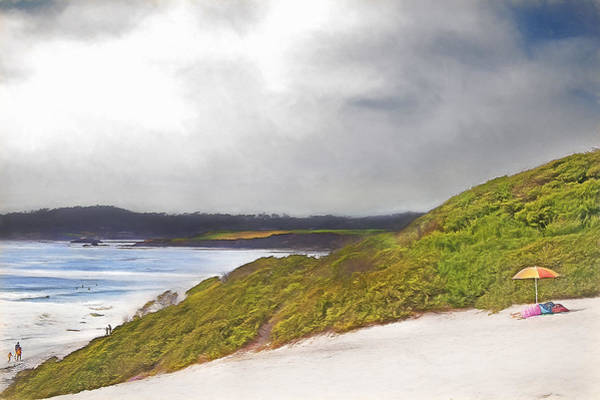 Getaway Mixed Media - Beach Umbrella - Carmel Ca by Steve Ohlsen