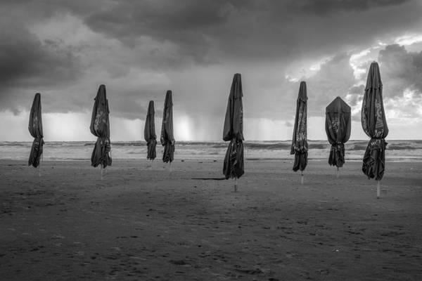 Tormenta Wall Art - Photograph - Beach Umbrellas / Winter Is Coming by Kobi Amiel