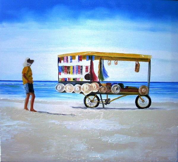 Wall Art - Painting - Beach Vendor by Maria Mills