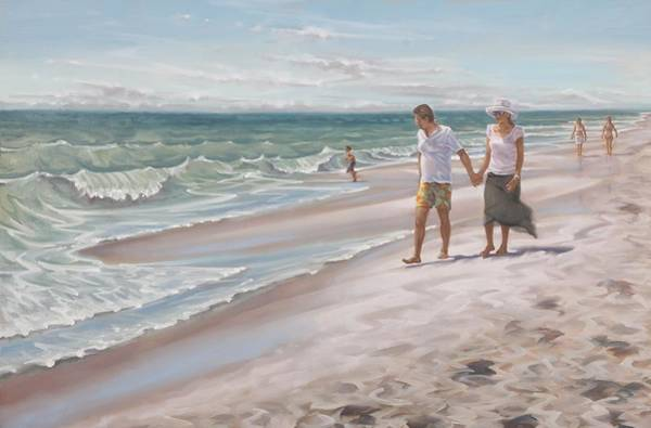 Painting - Beach Walking by Gary M Long